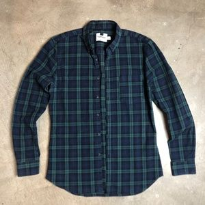 Topman Navy & Green Plaid Button Down Casual Shirt